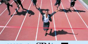 business woman wins race