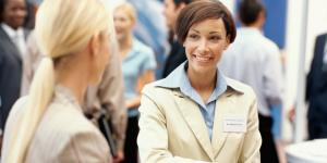 businesswoman at trade show
