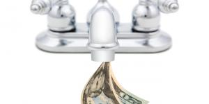cash coming out of faucet