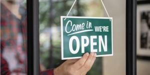 open sign business door