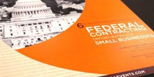 Photo of a brochure entitled 'Federal Contracting Opportunities for Small Businesses.'