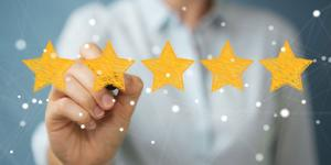 Image of woman filling in five gold stars
