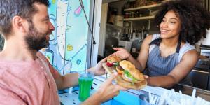 woman and man at food truck