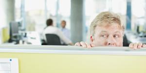 hiding behind cubicle