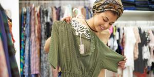 woman buying a dress
