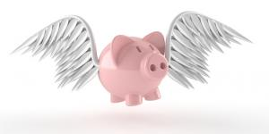 piggybank with wings