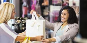 sales clerk and customer
