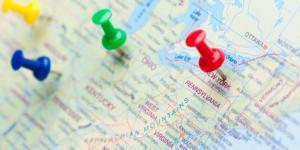 thumbtacks on United States map