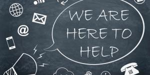 we are here to help on chalkboard