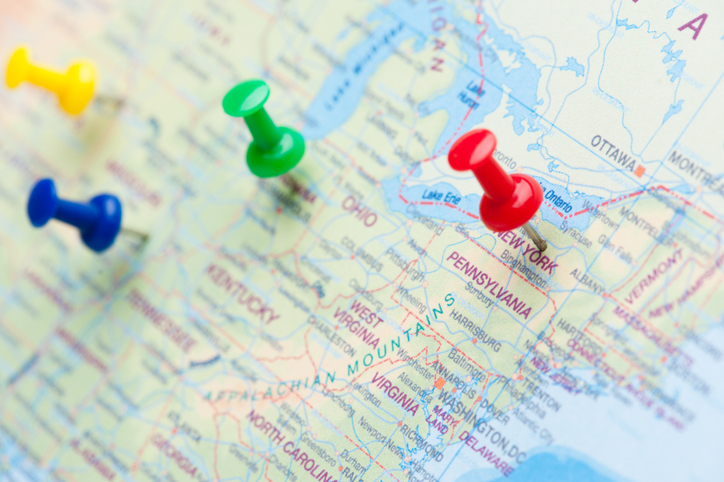thumbtacks on United States map