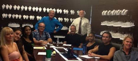 Broward SCORE Counselors, David Harris and Russell Thompson at a recent Turnaround Workshop with Lamar Creations principals Larry and Mark Goldberg, and the Lamar Creations management team.