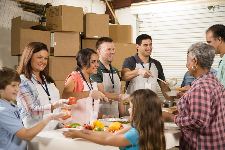 volunteers at a food bank