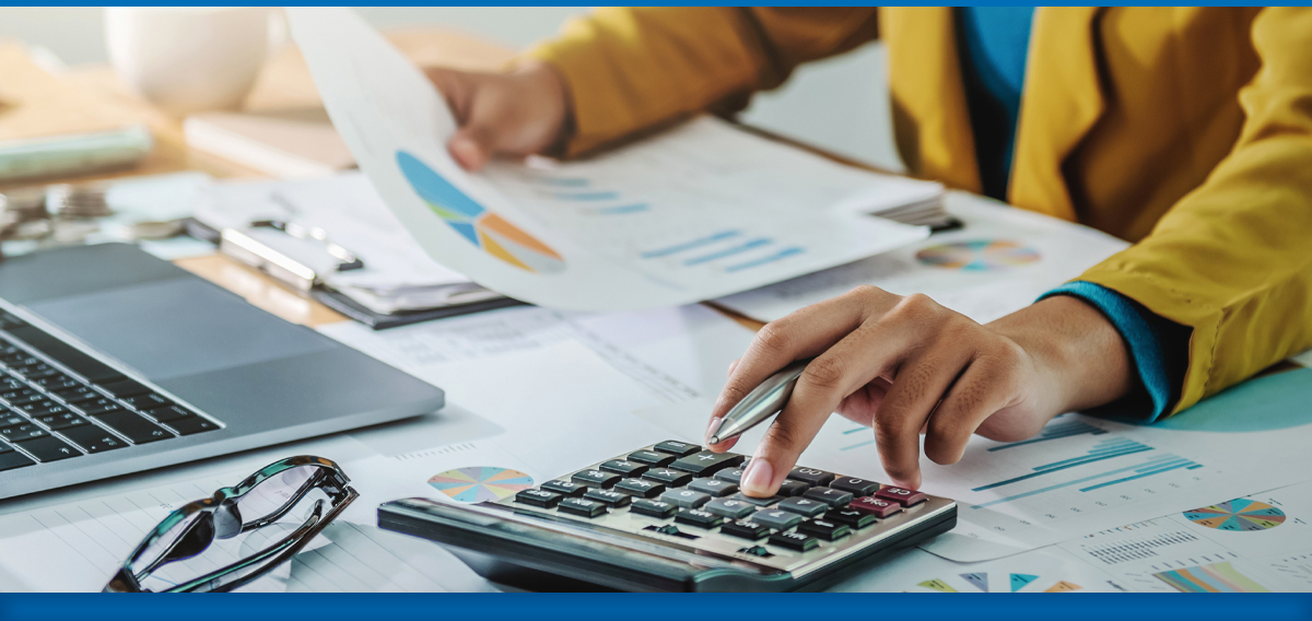 Business person working on finances
