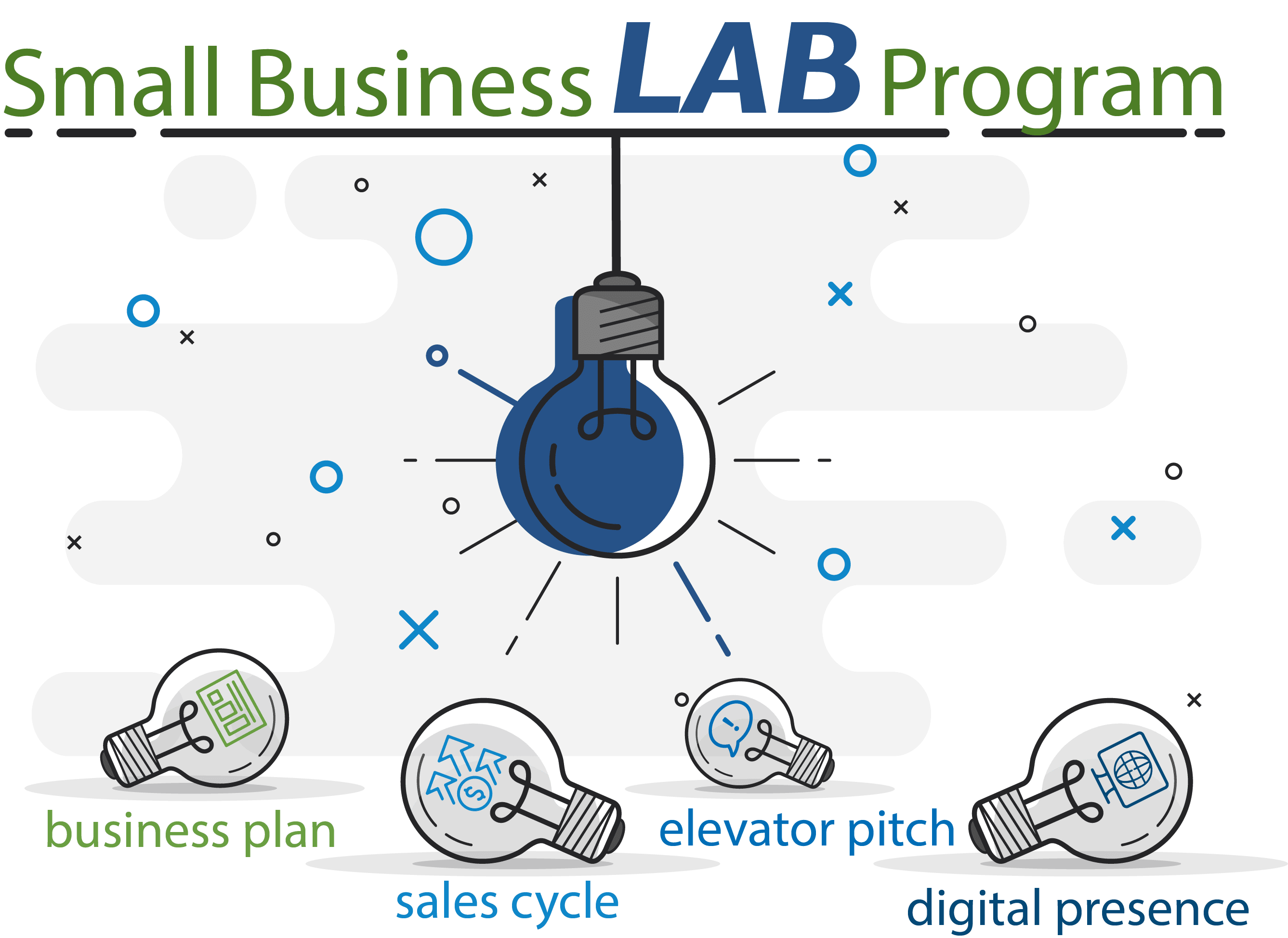Small Business Lab Program - icons with lightbulbs