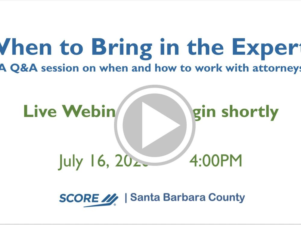 When to Bring in the Experts - A Q&A session on when and how to work with attorneys