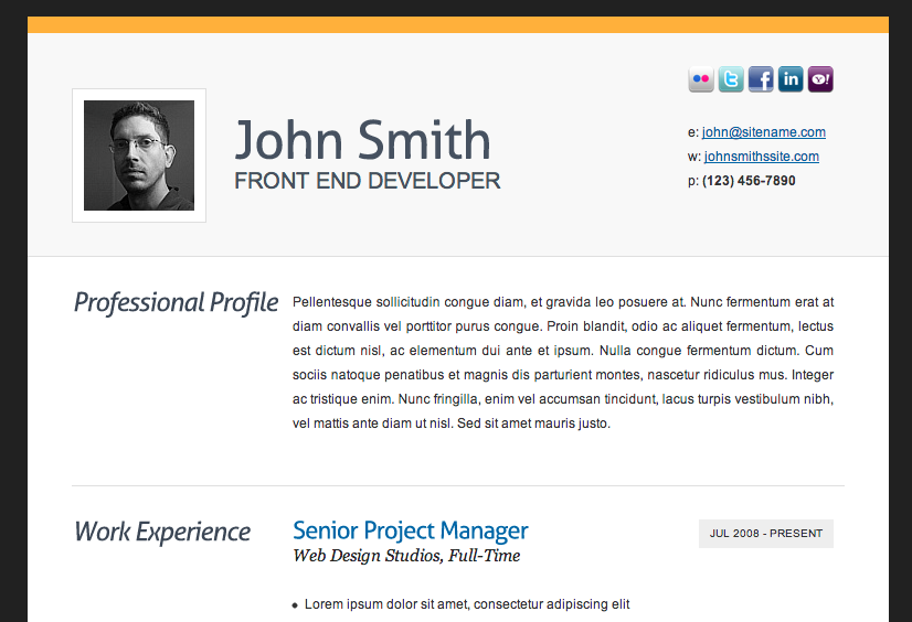 Resume Format In Html Maggilocustdesignco - Example of resume html code