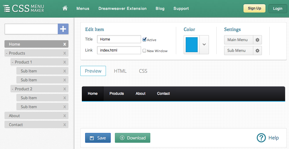 Dreamweaver drop down menu tutorial for Html drop down menu templates free download