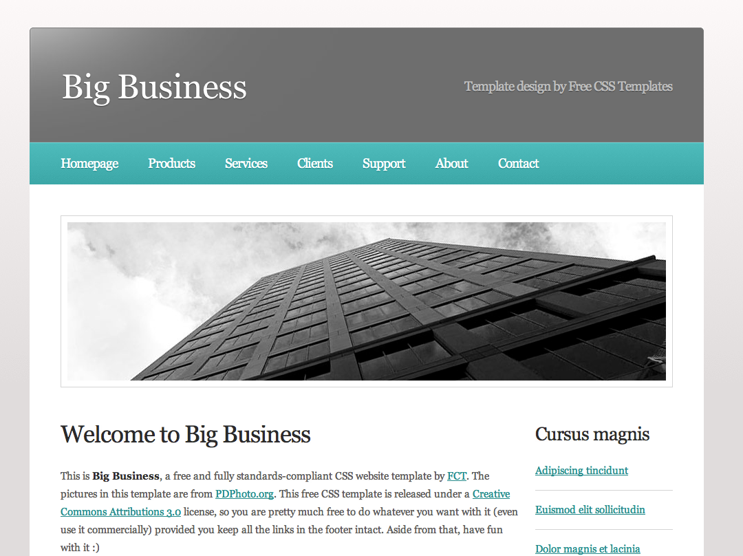 Free dreamweaver business website templates big business accmission