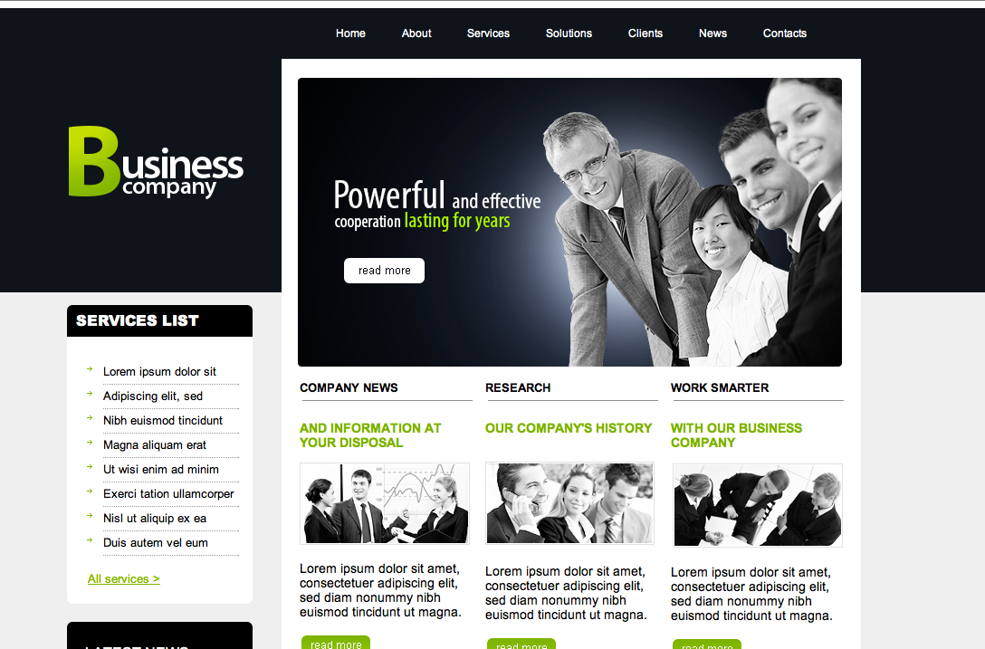 Free dreamweaver business website templates business company flashek Gallery