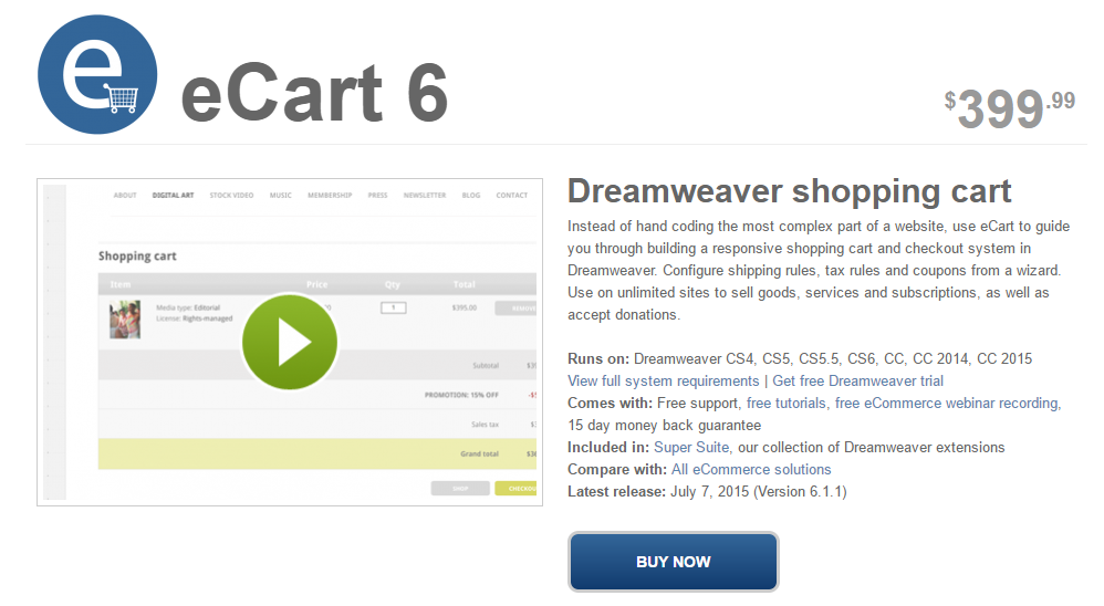 Top dreamweaver extensions for Dreamweaver shopping cart templates