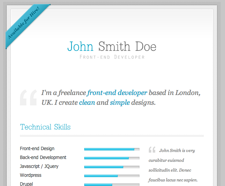 Html resume templates my resume yelopaper Image collections