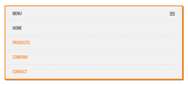 Orange Responsive JQuery Menu