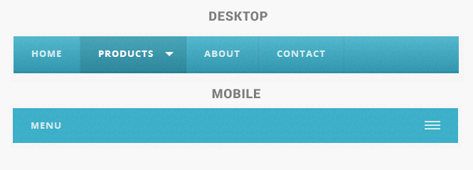 Textured Responsive Mobile Drop Down Menu