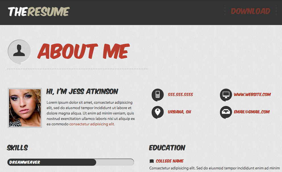 the resume - Resume Web Template