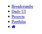 HTML Structure for Breadcrumbs Menu