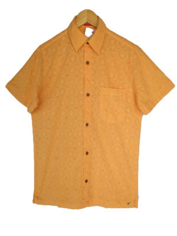Camisa masculina manga curta slim fit cassa bordada algodão