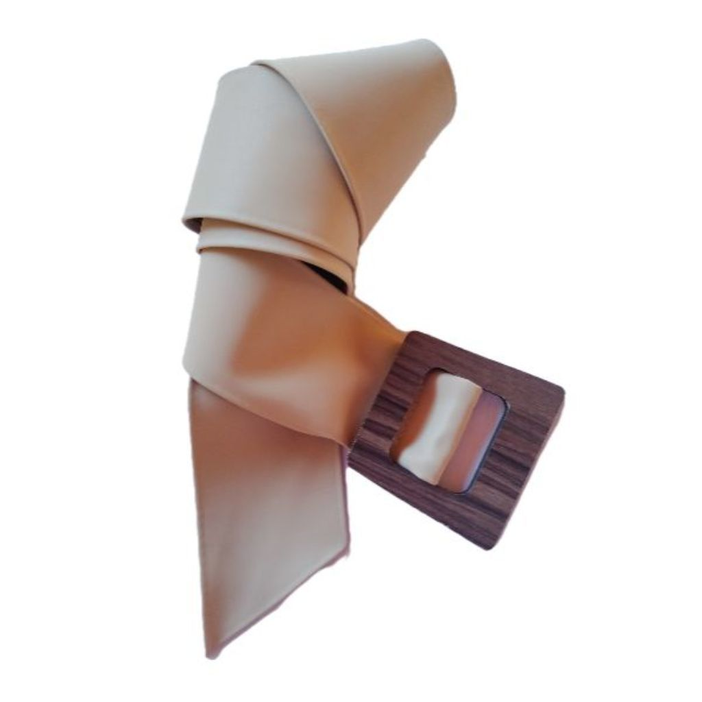 Cinto feminino largo couro sintético fosco fivela de madeira