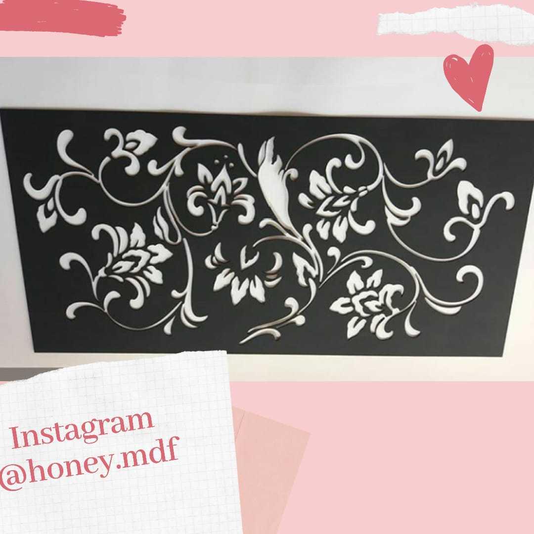 Placa floral em mdf 40x60cm