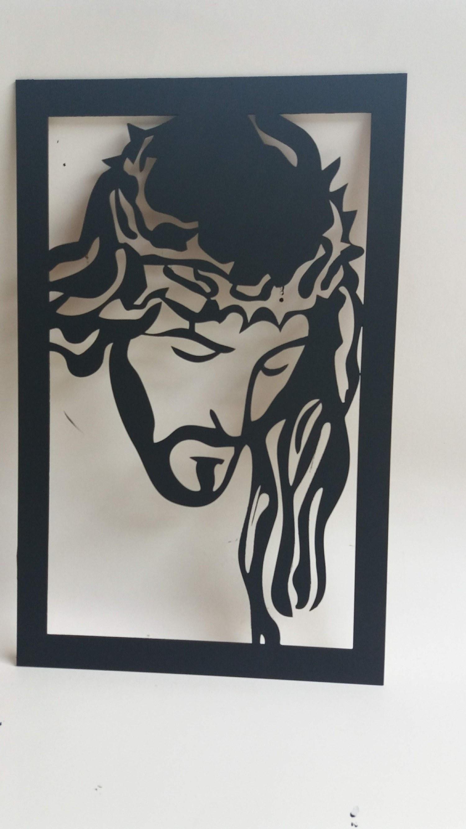 Quadro Jesus Cristo 38x55cm em MDF cor Preto