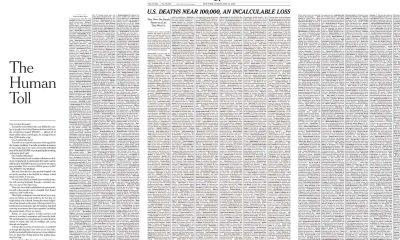 The New York Times publica en su portada una gran lista de fallecidos por Covid-19