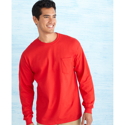 Ultra Cotton Adult Long Sleeve T-Shirt with Pocket