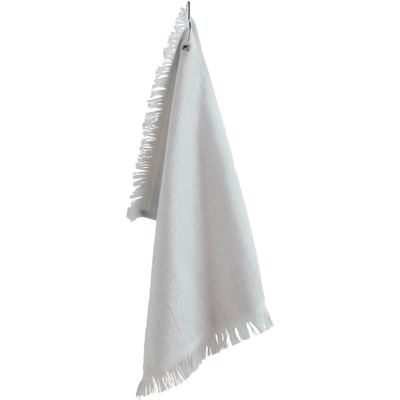 Fringed FIngertip Towel with Corner Grommet and Hook