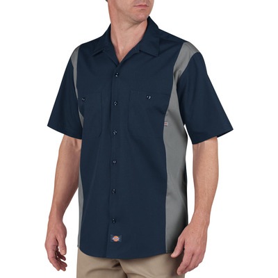 Color Block Short Sleeve Work Shirt