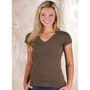 LATs 3607 Jr. Fine Jersey V-Neck Longer Length Tee