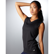 New Balance 7117L NDurance Ladies Athletic Workout V-Neck Tee-Shirt