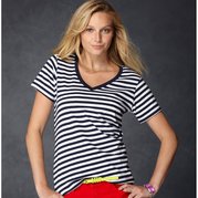 Anvil 8823 Women's Lightweight Striped V-Neck Tee