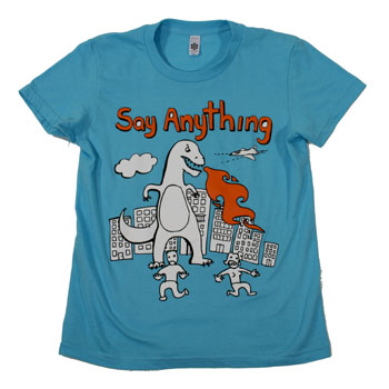 Say Anything - Dinosaur on Light Blue Fine Jersey Slim Fit T-Shirt - Women's