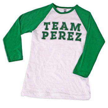 Perez Hilton - Team Perez Kelly on Wht Women's 3/4 Sleeve Raglan - Team Perez