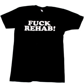 Perez Hilton - F*ck Rehab White on Black Men's Fine Jersey Slim Fit - T-shirts