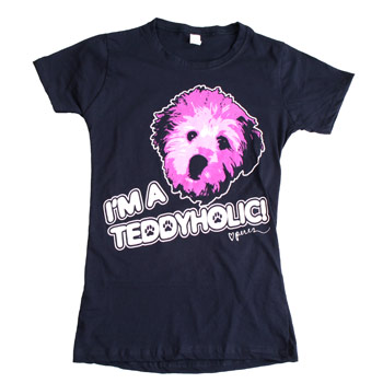 Perez Hilton - Teddy Face on Navy Women's Fine Jersey Slim Fit - Women's