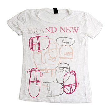 Brand New - I Am Faces White Burnout Slim Fit T-Shirt - Women's