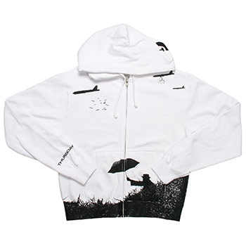 Thursday - Common Umbrella on White Zip Up Sweatshirt - Women's
