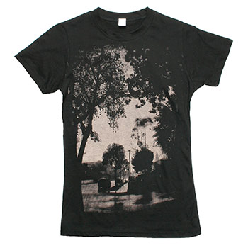 Thursday - Street Trees on Black Fine Jersey Slim Fit T-Shirt - Women's