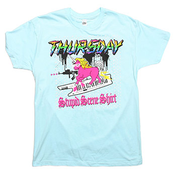 Thursday - Stupid Scene Shirt on Light Blue Fine Jersey Slim Fit - T-shirts