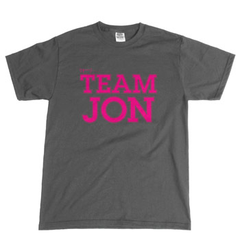Perez Hilton - Team Jon on Charcoal Unisex Slim Fit Fine Jersey - T-shirts