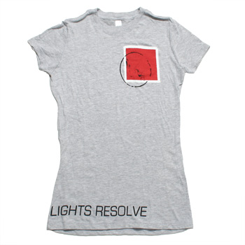 Lights Resolve - Red Stamp on Heather Grey Fine Jersey Slim Fit T-Shirt - Women's